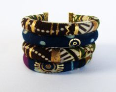 Boho Stacking Bracelet African fabric stretch by nad205 on Etsy