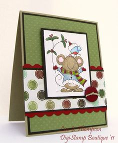 DSB Cute Christmas by lisajtmo - Cards and Paper Crafts at Splitcoaststampers Christmas Time, Christmas Cards, Copics, Digital Stamps, Card Ideas, Card Making, Greeting Cards, Paper Crafts, Scrapbook