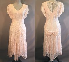 Vintage 1920's Style Pale Pink Lace Dress Prom by ContentlyKellisa