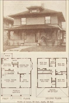 1915 Foursquare Classic - Hewitt-Lea-Funck Co. This also is very similar in style to the two-story bungalow my dad grew up in. The Plan, How To Plan, Square House Plans, House Floor Plans, Future House, My House, Farm House, Four Square Homes, Vintage House Plans
