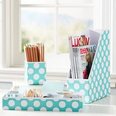 Printed Desk Accessories - Pool Dottie #pbteen  Love it!