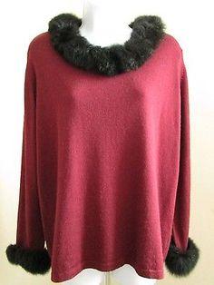 Women's ROYAL New Zealand Merino Wool Sweater Possum Fur Trim Size L Large