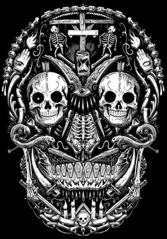 TOO MANY SKULLS by Rafal Wechterowicz, via Behance. Tattoo design idea. Dude I want this as a tattoo on the back of my left leg!!! Sooo rad!