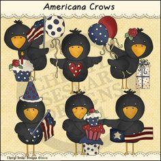 Americana Crows 1 - Whimsical Clip Art by Cheryl Seslar