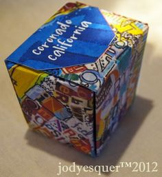 A box designed from Coronado Collage art project, original canvas made from magazine clippings and doodles
