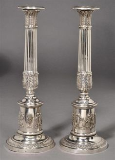 A pair of antique silver candlesticks Silver Cutlery, Silver Candlesticks, Bronze, Fries, Antique Silver, Candle Holders, Vase, Lights, Sterling Silver