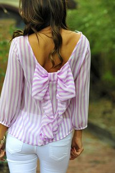 Seersucker Pink and White Stripe Bow Back Top #preppy