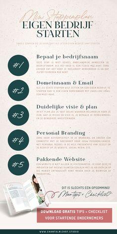Ga je een eigen bedrijf starten? Een mini stappenplan voor startende ondernemers. Het is een klein overzicht van een aantal basis stappen die je doorloopt wanneer je met een eigen bedrijf gaat beginnen. Natuurlijk komt er nog veel meer bij kijken. Wil je graag weten wat er nog meer bij het starten van een eigen bedrijf komt kijken? Download mijn gratis tips & checklist voor startende ondernemers via de link.