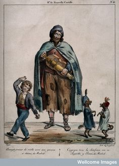 Coloured lithograph by White after Edme Jean Pigal (1798-1872). Wellcome Library, London  A blind hurdy gurdy player and his son and two dancing dogs.