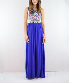 Another great find on #zulily! Royal Blue Southwest Maxi Dress #zulilyfinds