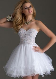 Clarisse 2450 - White Strapless Lace Short Dress - RissyRoos.com