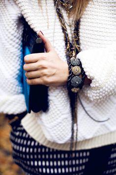 sweater + accessories.