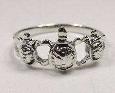STERLING SILVER NAUTICAL THREE PACIFIC HAWAIIAN SEA TURTLES SEA LIFE RING SIZE 6 #Unbranded #Cluster