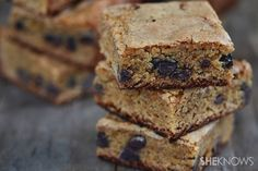 Gluten-free peanut butter chocolate chip blondie bars. #food #gluten_free #bars #desserts