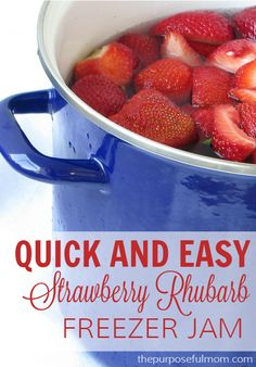 Make this quick and easy strawberry rhubarb freezer jam! Just three ingredients (and no pectin necessary!). Even the kids can help make this delicious recipe.