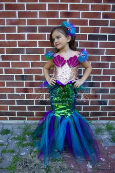 This colorful Disney inspired Ariel Mermaid outfit is perfect for ocean and mermaid theme birthday party, pageant and any other special occasion, is our own design and make. Mermaid Costume Kids, Mermaid Halloween Costumes, Mermaid Cosplay, Ariel Costumes, Couple Costumes, Couple Halloween, Adult Costumes, Group Costumes, Mermaid Theme Birthday