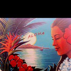 Aloha hawaii vintage postcard