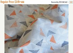 SALE Organic Cotton Fabric, Quilting Weight textile, Blockprint Orange from Cloud9, Certified Organic Cotton
