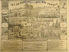 """Let us forgive but not forget"" engraving showing the Andersonville Prison Hospital and stockade in Georgia. This prison housed Union prisoners of war."