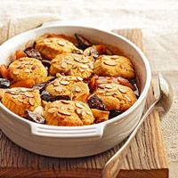 Fig and Pear Cobbler with Cornmeal-Amaretti Biscuits