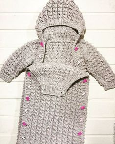 Newborn Baby Sleeping Bag Winter Warm Wool Knitted Hoodie Swaddle Wrap C…, - Knitting Knitted Baby Clothes, Knitted Bags, Baby Knitting Patterns, Baby Patterns, Crochet Pattern, Baby Sleeping Bag Pattern, Diy Crafts Knitting, Crochet Cocoon, Baby Bunting