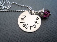 Celebrate Hand Stamped Necklace Sterling Silver by marybeadz, $30.00