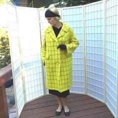 Mod 60's Lemon Yellow / Olive Plaid Coat . Vintage Boy Coat style .  Nubby Woven Wool . Women's Dress Coat . Popular 60's Acid Colors