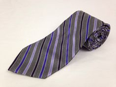 BROOKS BROTHERS 62L Mens Neck Tie Makers Purple Gray Striped 100% Silk USA #BrooksBrothers #NeckTie #Ties