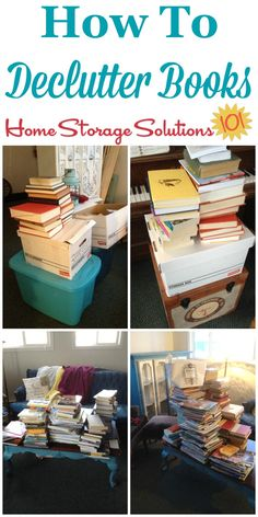 How to declutter books from your home, including 5 questions to ask yourself on Home Storage Solutions 101 Clutter Organization, Home Organization Hacks, Organizing Your Home, Organisation Ideas, Organizing Ideas, Organizing Books, Decluttering Ideas, Household Organization, Organising Tips
