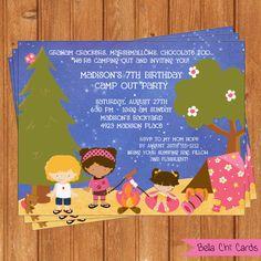 Free Printable Camping Birthday Invitations | Kids Birthday Invitations KBI268DIY 5.5 X 4.25 Editable Printable ...