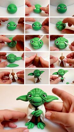Yoda cake topper - modellieren - You are in the right place about Polymer Clay Crafts paper mache Here we offer you the most beautiful pictures about the Polymer Clay Fondant Figures, Clay Figures, Polymer Clay Projects, Polymer Clay Charms, Clay Crafts, Cake Topper Tutorial, Fondant Tutorial, Yoda Cake, Decors Pate A Sucre