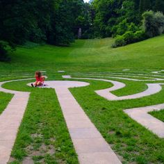 An exhausted girl claims a well earned rest in this labyrinth at Loucen Castle in the Czech Republik. Photo by Labirintia.