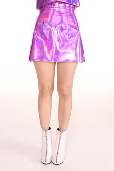 Image of Made To Order - Pink Holographic Motel Skirt