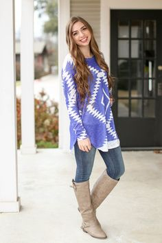 Royalty Aztec Tunic - Royal Blue and Ivory