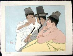 Paul Jacoulet Three Koreans