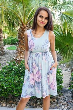 Cherish everyday you spend wearing the Precious Memories Sage Green Floral Print Sleeveless Skater Dress. Peach, pink, brown, orange white and green floral print dances along this lightweight, stretchy dress with a scoop neckline & sleeveless bodice. Casual Skirt Outfits, Casual Dresses, Short Dresses, Event Dresses, Day Dresses, Dresser, Cute Summer Dresses, Ladies Dress Design, Skater Dress