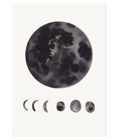 Phases of the Moon print poster illustration // Kidsroom Art Illustrations, Illustration Art, White Art, Black And White, Miss Moss, Moon Print, Poster Prints, Art Prints, Posters