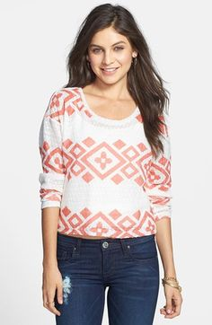 Ten Sixty Sherman Sheer Geo Print Pullover (Juniors) | Nordstrom