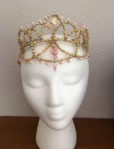 Gold AB Crystal Ballet Tiara Headpiece Crown Princess Paquita Lt. Pink Accents #Handmade #PaquitaII