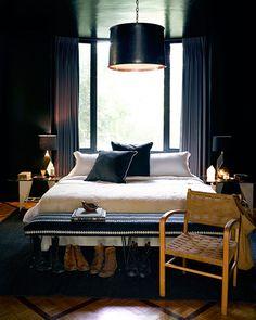 Preciously Me blog : Nate Berkus Home ~ don't be afraid of 'the dark' ~ Window headboard too!