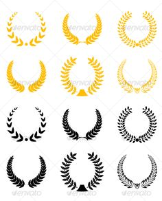 Set of laurel wreaths  #award #laurel #symbol • Click here to download ! http://graphicriver.net/item/set-of-laurel-wreaths/79600?ref=pxcr