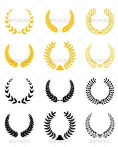 Set of laurel wreaths #award #laurel #symbol • Click here to download ! http://graphicriver.net/item/set-of-laurel-wreaths/79600?ref=pxcr