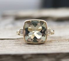 3 Stone Green Amethyst Bezel and Diamond Ring in 14K by Studio1040, $1,200.00