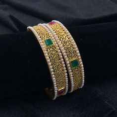 Bangles with Green/Red squares with Moti - Chan Heart Jewelry, Gold Jewelry, Beaded Jewelry, Jewelery, Indian Jewellery Design, Indian Jewelry, Jewelry Design, Stylish Jewelry, Fashion Jewelry