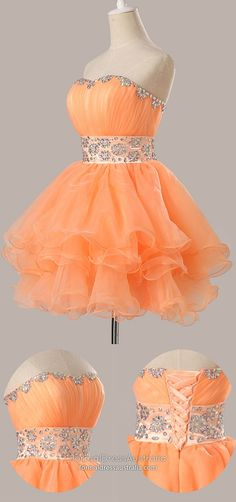Orange Homecoming Dresses Short, Ball Gown Homecoming Dresses Sweetheart, Cute Homecoming Dresses Organza, Beaded Homecoming Dresses For Teens Modest Formal Dresses, Vintage Formal Dresses, Dresses Short, Hoco Dresses, Tight Dresses, Party Dresses, Dance Dresses, Orange Homecoming Dresses, Vintage Homecoming Dresses