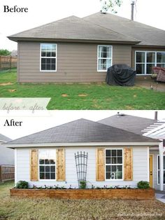 These projects are DIY friendly and are sure to boost your home's curb appeal. diy home improvement 16 Budget-Friendly Curb Appeal Ideas Anyone Can Do Home Improvement Projects, House, Home Projects, House Front, Diy Home Improvement, House Exterior, Diy Shutters, New Homes, Curb Appeal