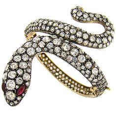 Spectacular vintage diamond & ruby handmade snake bracelet.