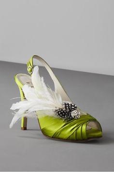 Lime green fluffy wedding shoe