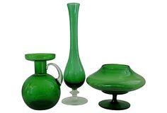 Emerald Glass Vessels, Set of 3 on OneKingsLane.com