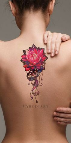 Cool Watercolor Lily Long Back Tattoo Ideas for Women - Pink Floral Flower Lotus. Cool Watercolor Lily Long Back Tattoo Ideas for Women - Pink Floral Flower Lotus Spine Tat for Teen Girls -ideas ros Trendy Tattoos, Sexy Tattoos, Body Art Tattoos, Small Tattoos, Tattoos For Women, Back Tattoo Women Upper, Upper Back Tattoos, Tattoo Girls, Girl Tattoos